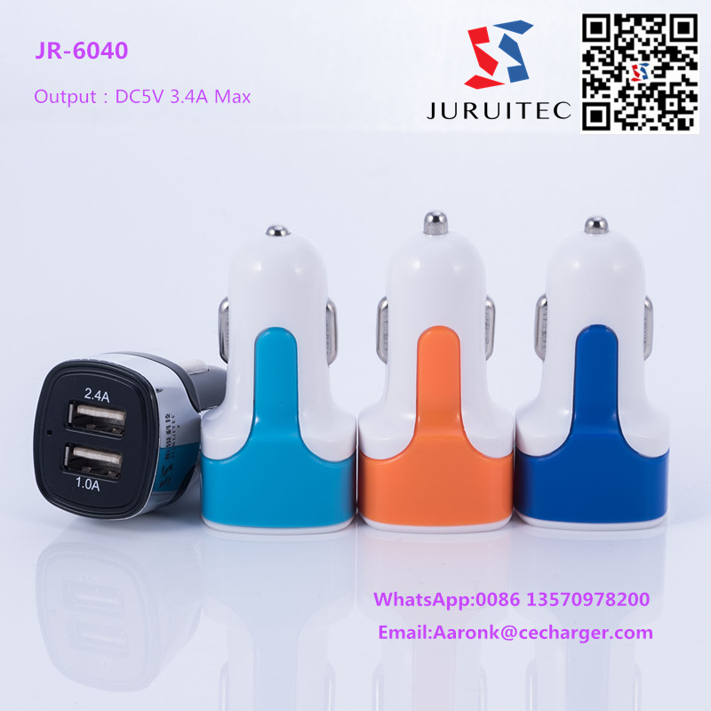 Dual Ports 3.4A Usb Car Charger Connector