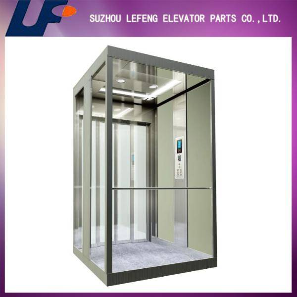 Mirror stainless steel Passenger elevator/panoramic elevator with laminated glass