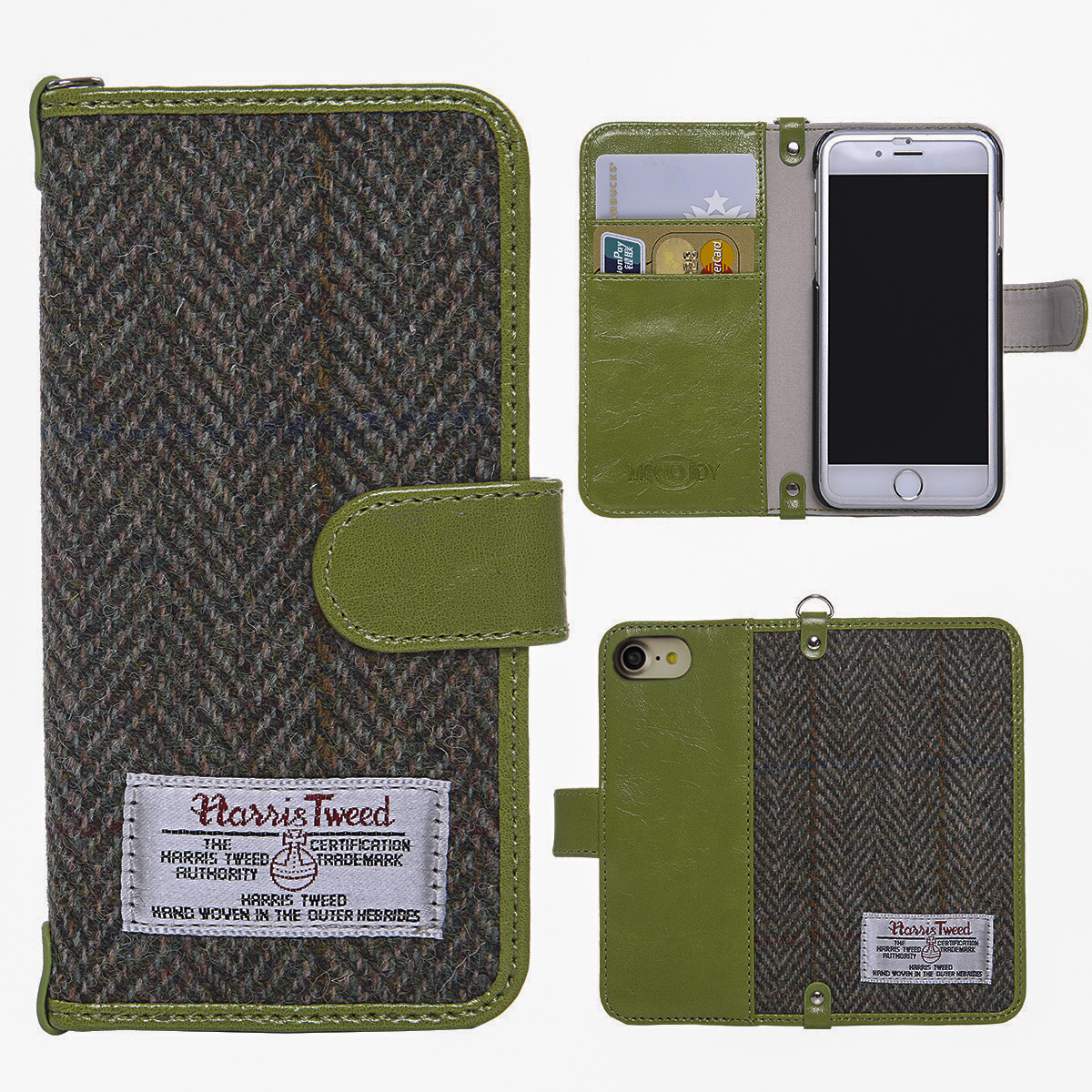 Harris Tweed Wallet Case,Non-Slip, Retro Magnetic Flip Cover Case for iPhone 7
