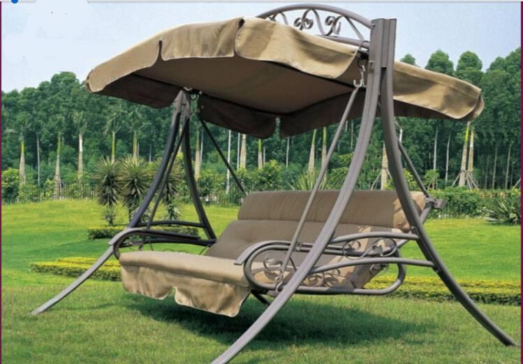 outdoor garden three person swing chair patio swing folding swing chair Garden villa swing/hammock