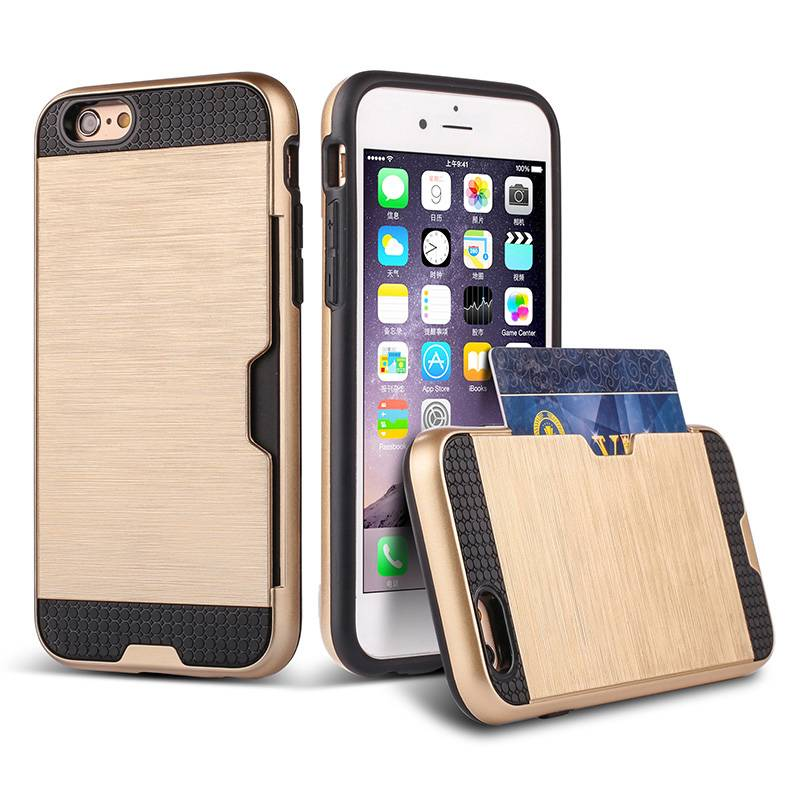 Best seller tpu+pc phone case with card slot for iphone 6