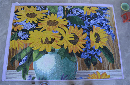 ZF-JH027 yellow color sunflower vase glass mosaic murals wall decoration