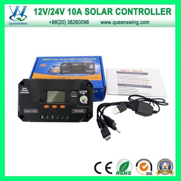 CE PWM 12V 24V 10A LCD Solar Charger Controller (QWP-VS1024U)