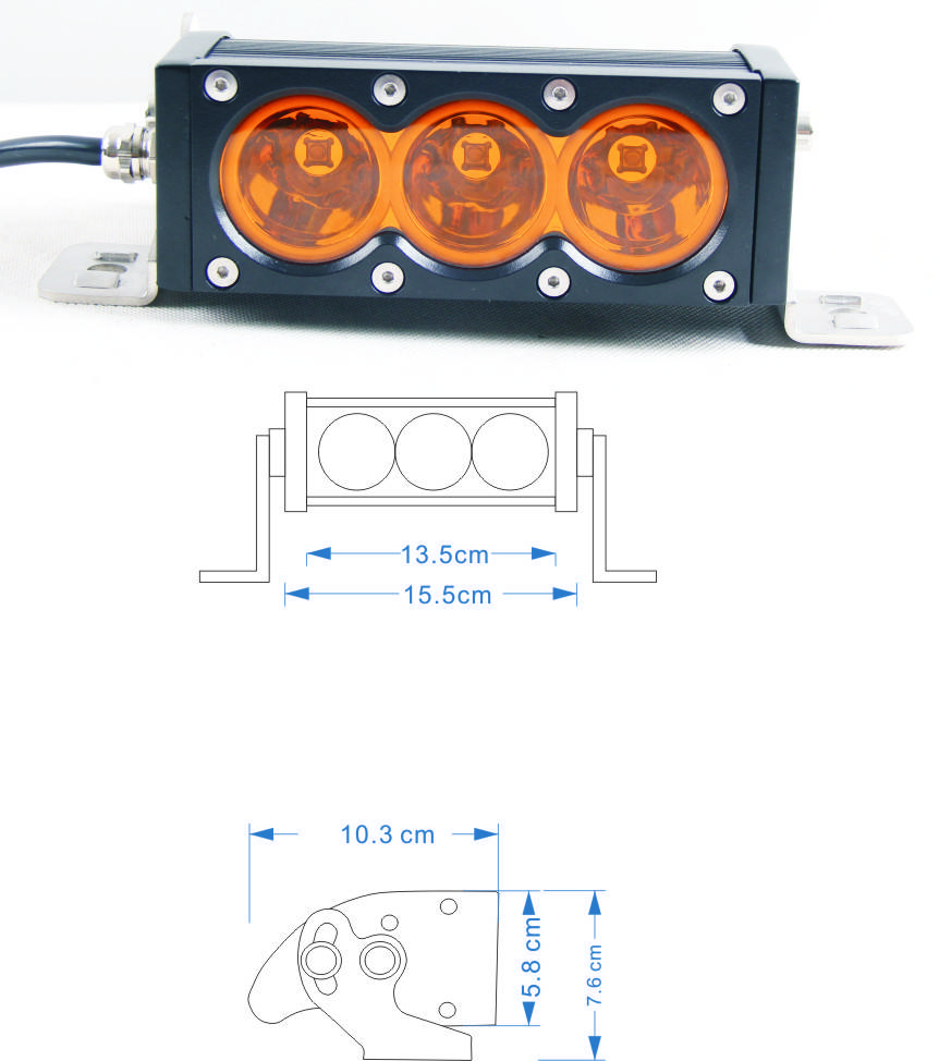 High/Low Beam ,Single row 10W CREE,red green blue