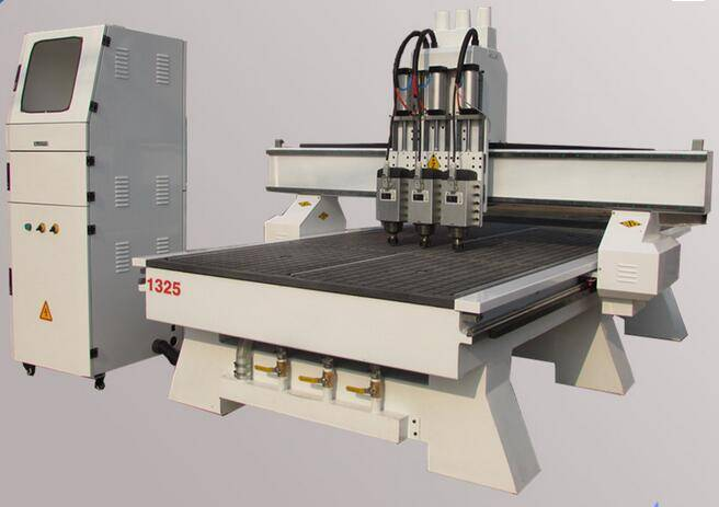 Pneumatic three heads cnc router engraving machine/cnc machine saw cutting/tool changer cnc side dri