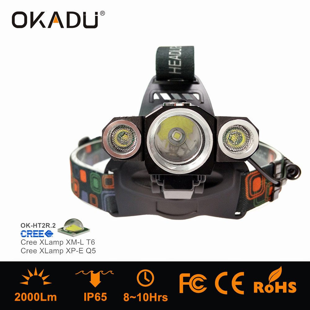 OKADU HT2R Waterproof Long Runtime Cree XM-L T6 LED Headlight 3000Lm LED Headlamp