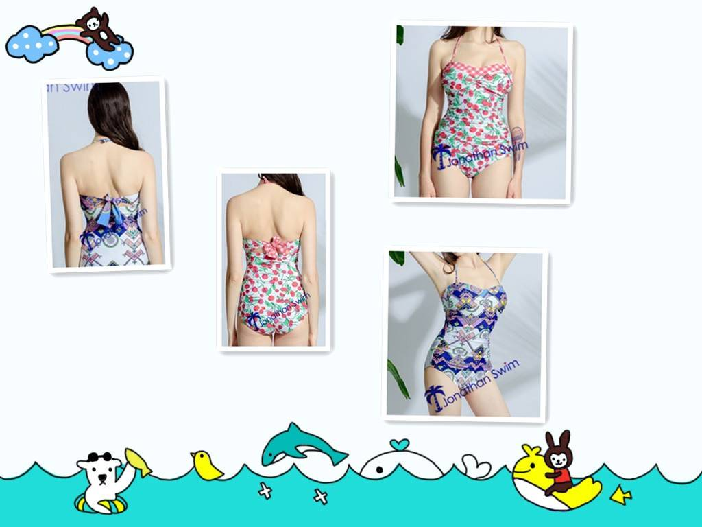 Women's Gorgeous Plicated Padded Up Halter One Piece Swimwear.