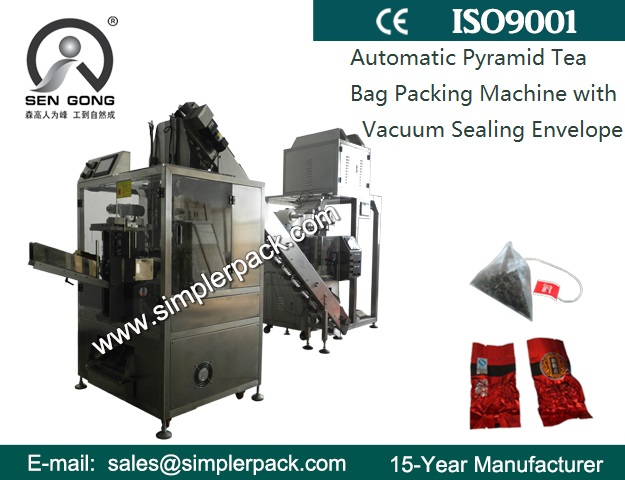 Pyramid Flower Tea Bag Packing Machine with Outer Vacuum Envelope