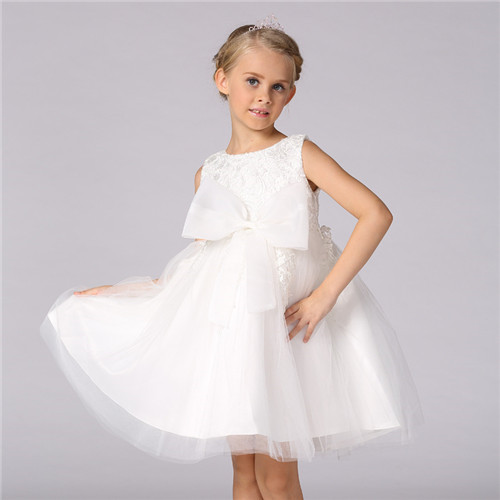 Princess dress of Girl Kids Infant white Formal wedding Dress Flower Girl Toddler Elegant Dress Vest
