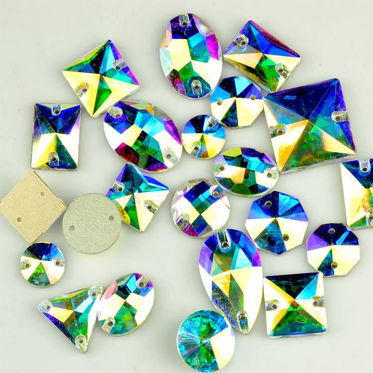 Perfect Cut Sparking Oval / Rivoli / Navette shaped sew on crystal rhinestones, flat sew on AB glass