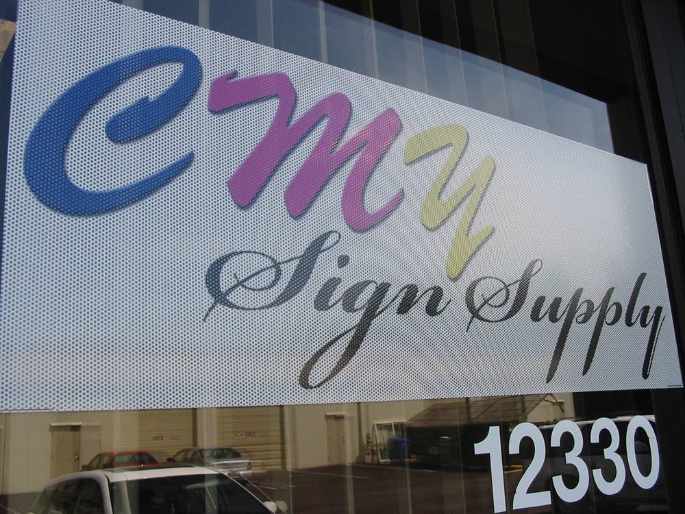 self adhave perforated vinyl sign supply trade show supply