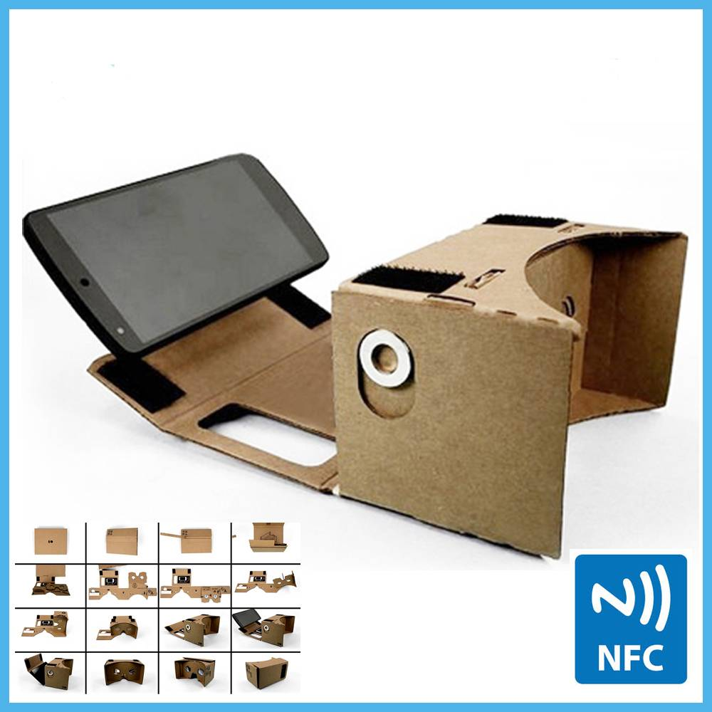 "5.7"" Screen Google Cardboard Virtual reality VR glasses Cardboard with NFC For Note2/Note3/Note4"