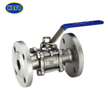 Three piece with flange ball valve