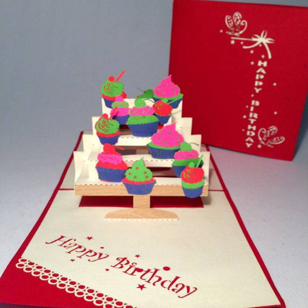 Cupcake birthday 3D pop up greeting card