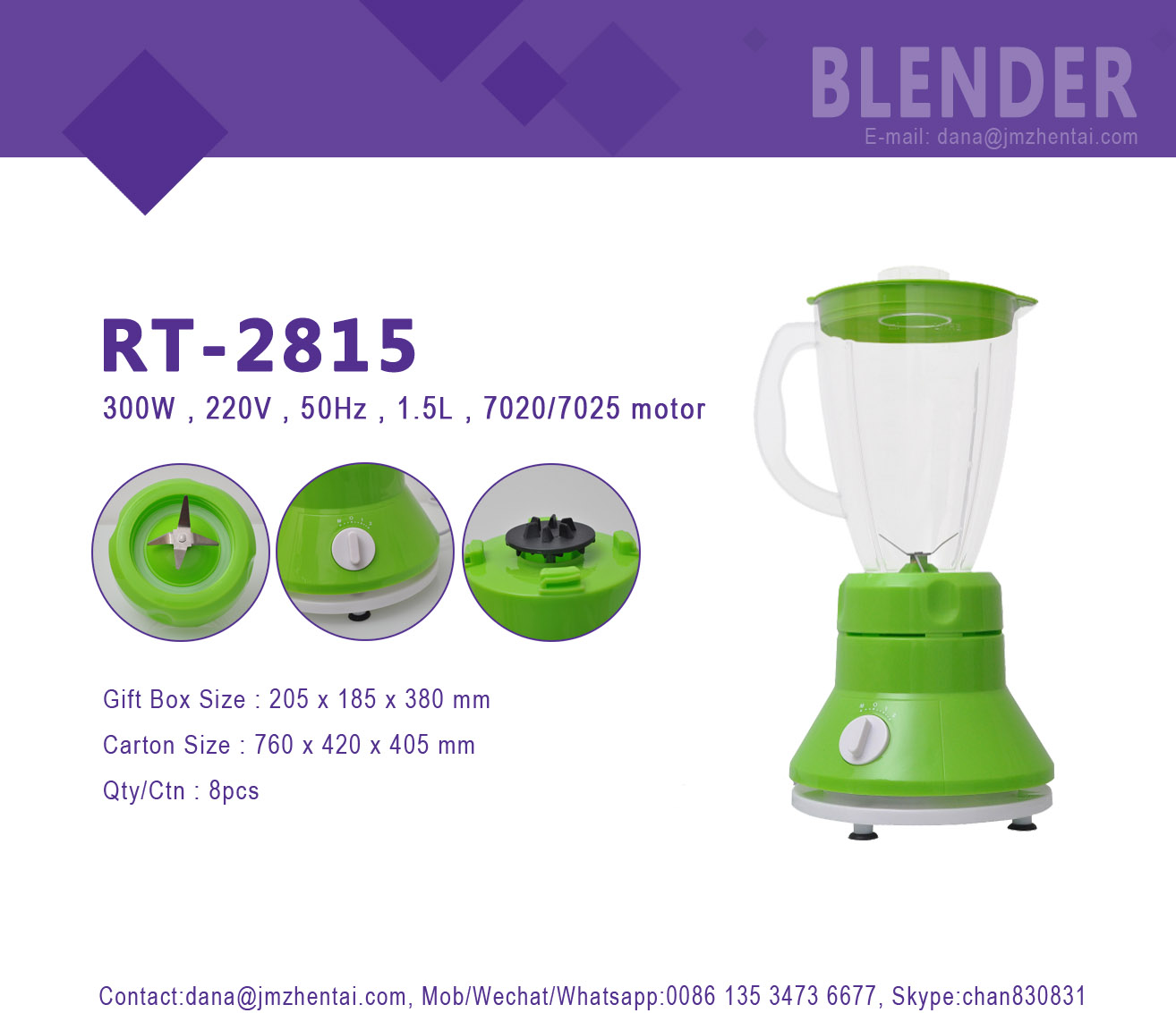 HUI JIA RT-2815 Colorful kitchen food fruit blender
