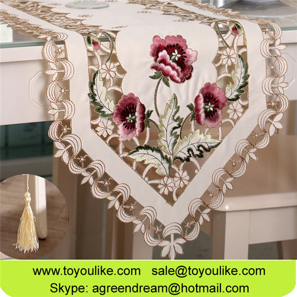 ToYouLike Table Runners Wholesale Polyester Embroidered Floral Table Runner for Home Decoration