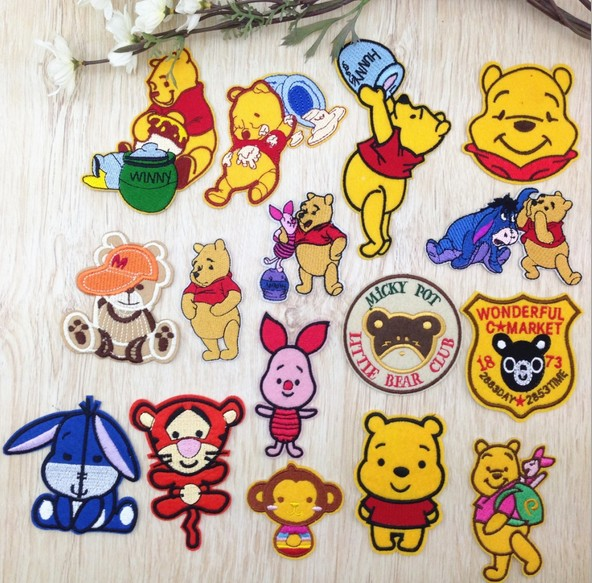 Winnie Pooh bear shape embroidery ironing sew badges patches