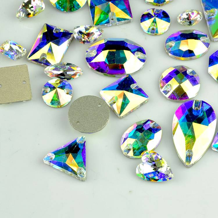 2016 New Top Quality blue flare crystal AB sew on strass , shaped flat back sew-on crystal stones fo