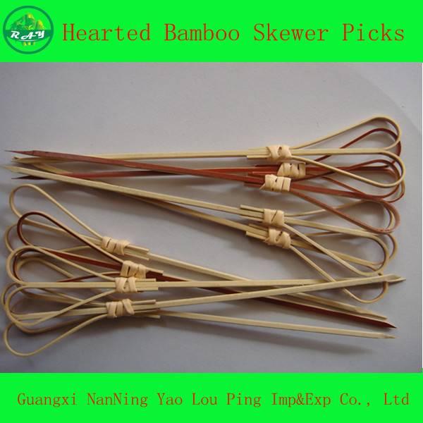 Heart-Shape Bamboo craft skewer picks/Loop Picks/Beaded &Acrylic Bamboo Food Picks
