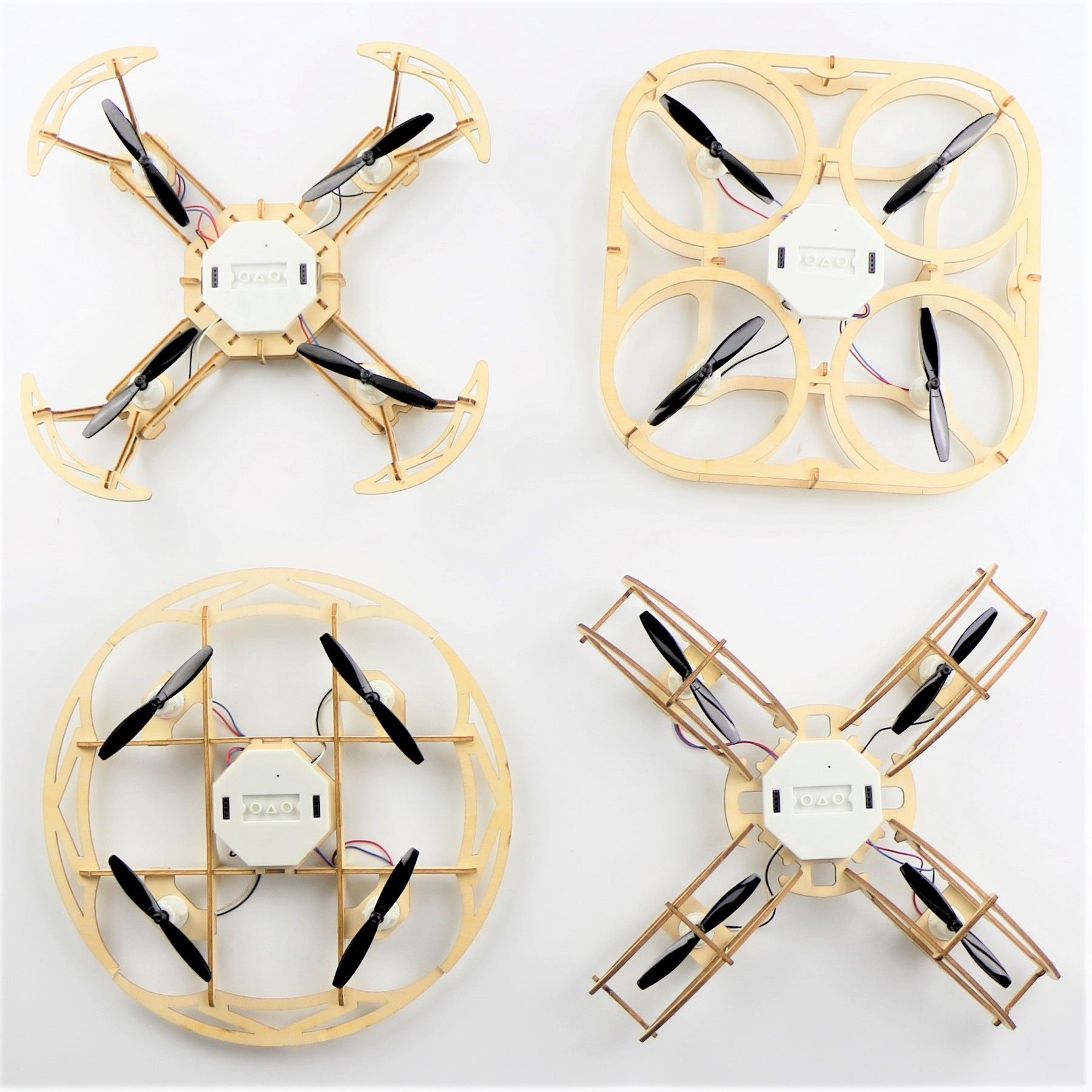 Assembled wood drone for STEAM education