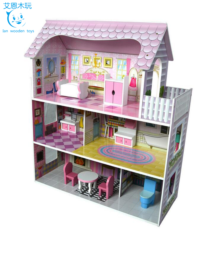 Educational wooden house design wooden doll house