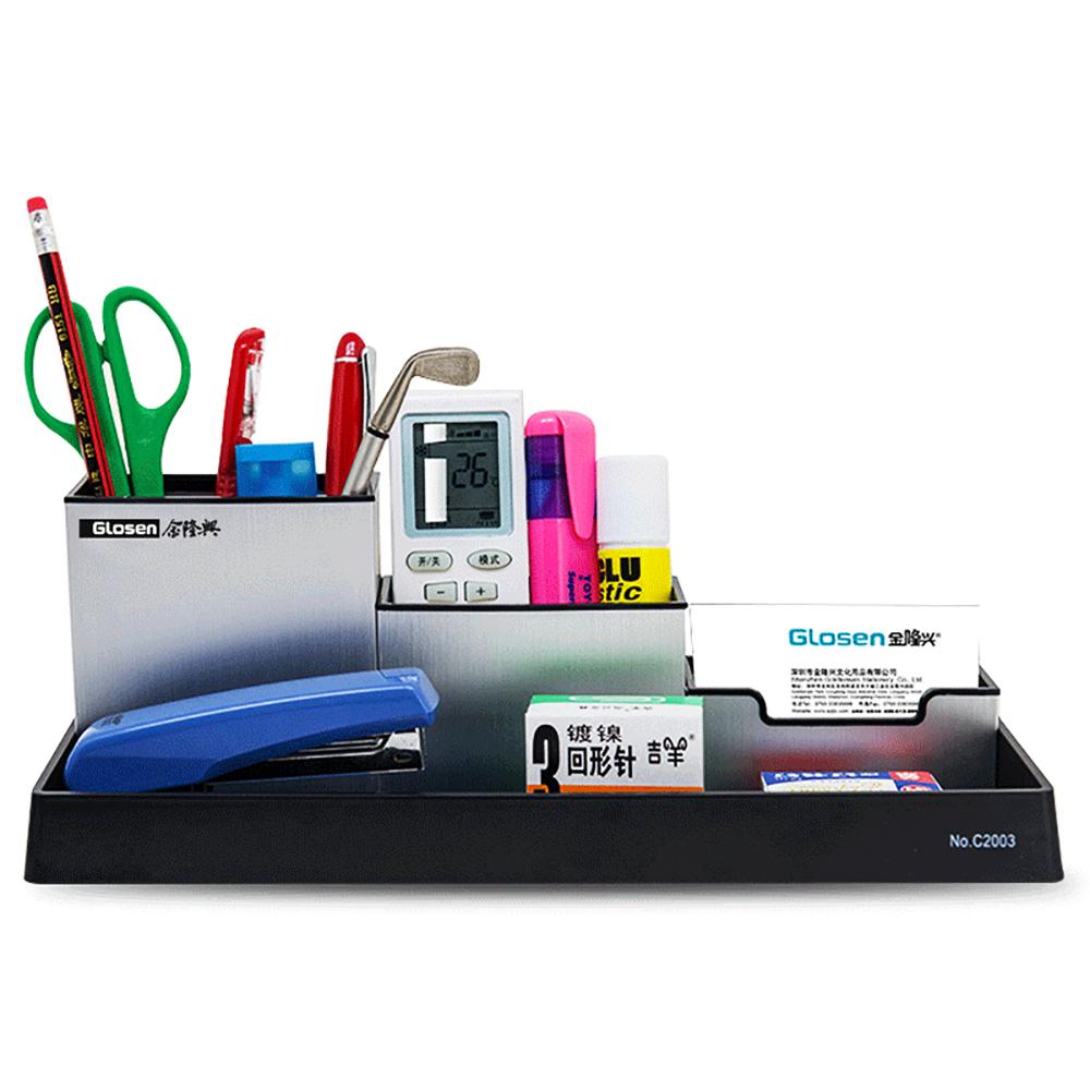 Glosen Multi Functional Desktop Storage Aluminum Pen Holder C2003
