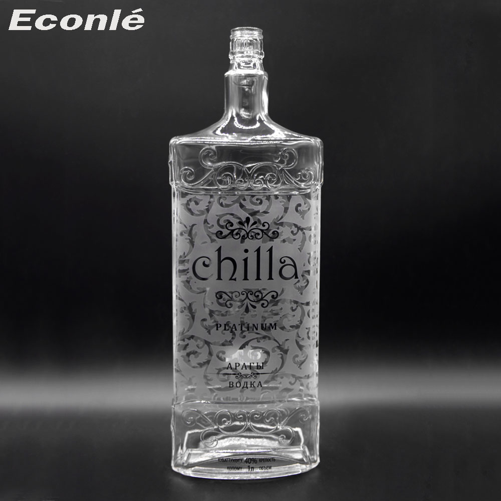 High end 1000ml/1L custom made liquor glass bottle