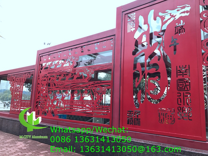 Aluminum laser cutting panel fixed on facade or glass curtain wall