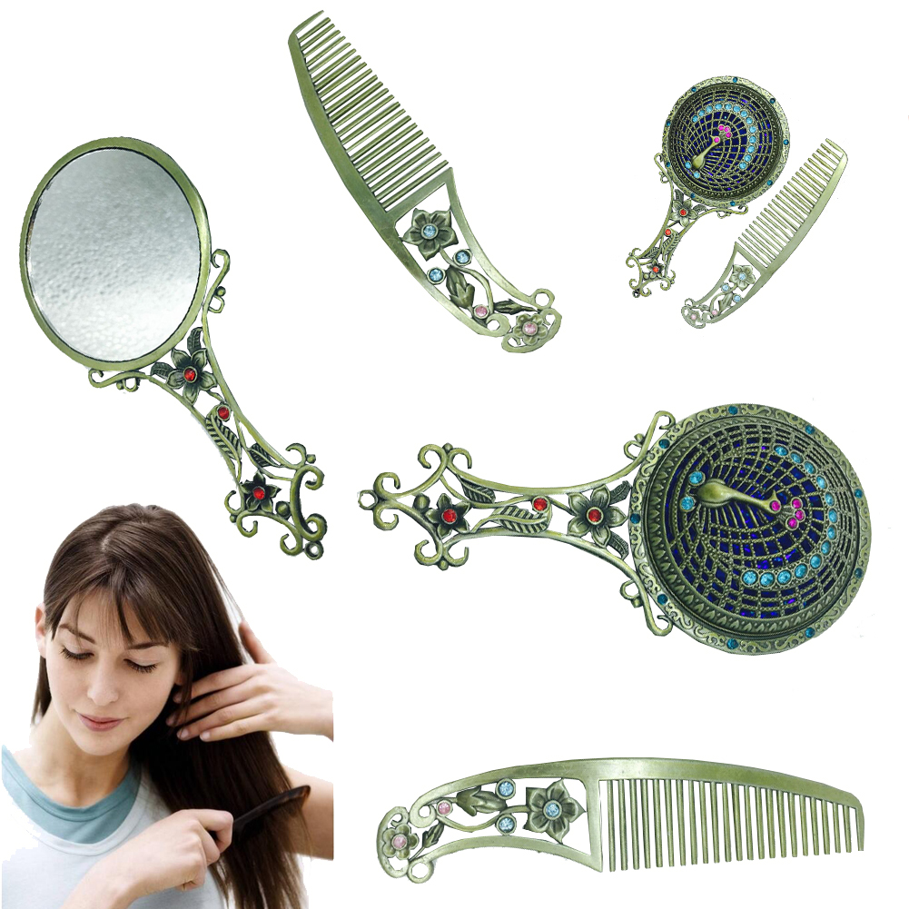 Peacock Make Up Mirror Chinese Vintage Hollow-out Carving Rhinestone Mirror Comb Set