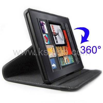 360 Degree Rotatable Leather Case with Holder for Amazon Kindle Fire (KTPC-0613)