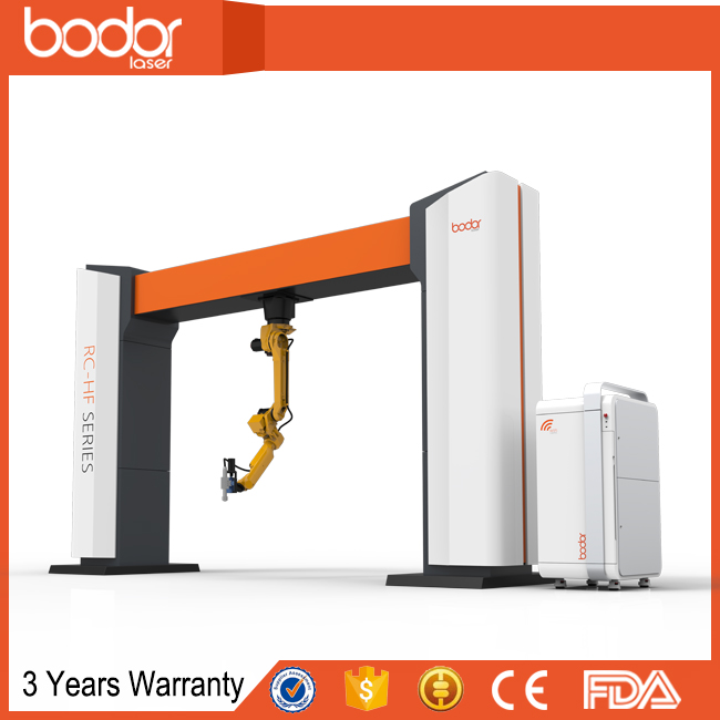 3d 6axis hanging fiber laser cutting japan fanuc robot with 3 years warranty form Bodor laser