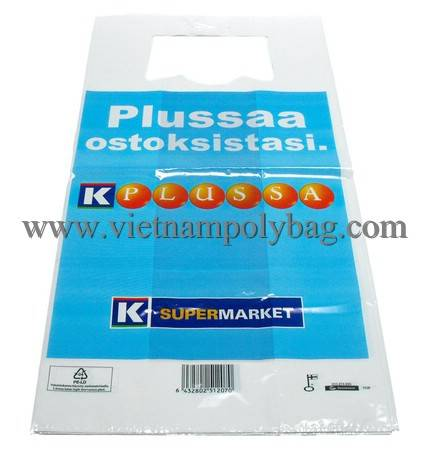 Vietnam tshirt vest carrier handle block head plastic bag