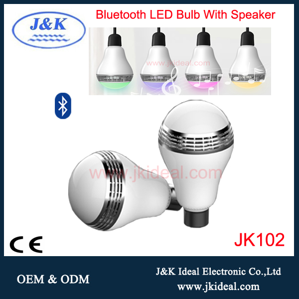 5w China ce rohs flashing audio plastic led light bulbs speaker