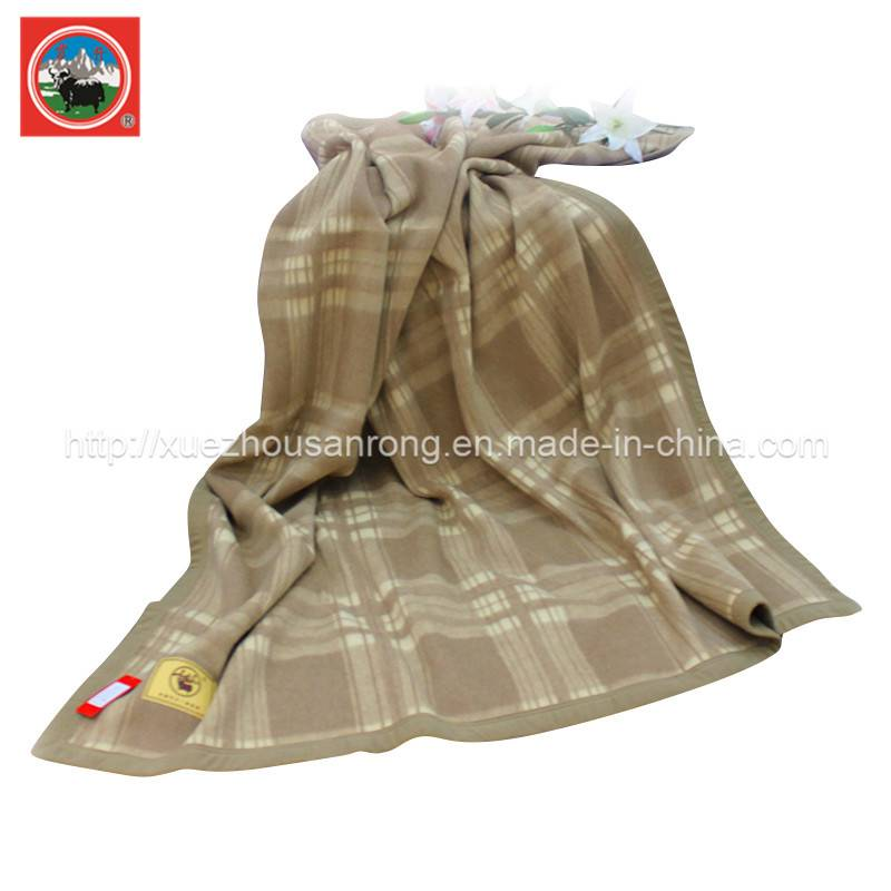 Jacquard lattice yak wool/cashmere/camel wool  blanket