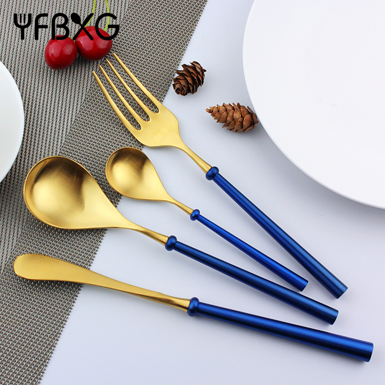 Restaurant flatware heavy handle stainless steel gold cutlery