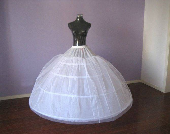 2014 Top Quality Stock White Bridal Accessories Four Hoops One Layer Wedding Petticoat/Underskirt