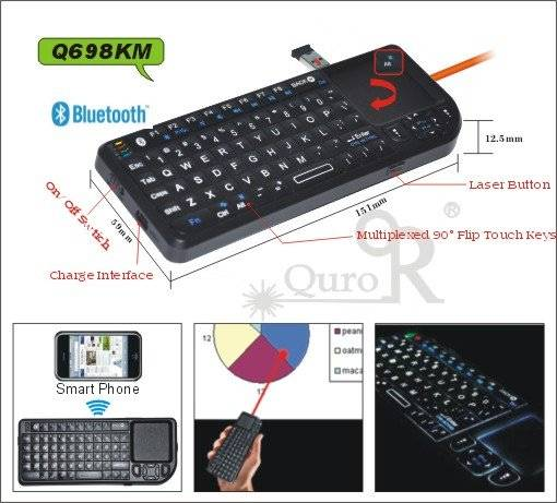 bluetooth wireless mini keyboard with laser