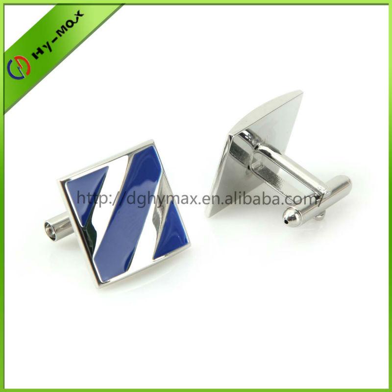 custom shinny rhodium enamel cufflinks