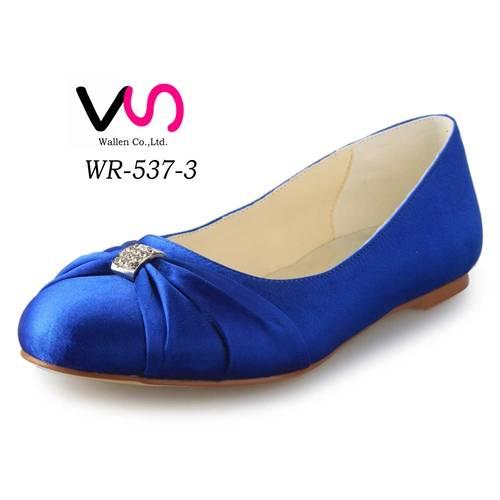 Simple royal blue flat women bridal wedding shoes