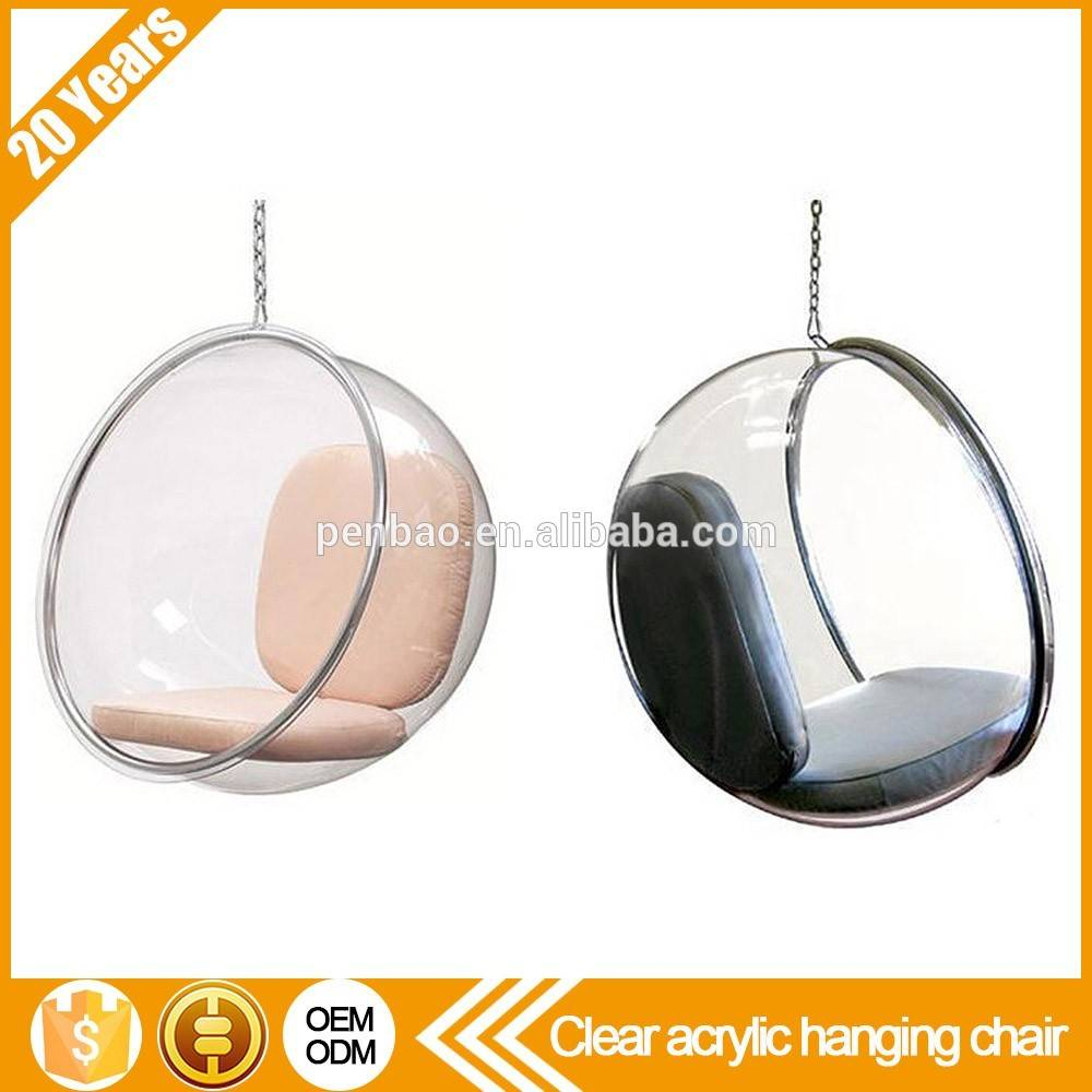 Clear acrylic rocking hanging ball swivel bubble chair with stand