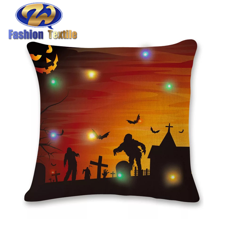 Colorful led 100% cotton plain cushion covers cotton