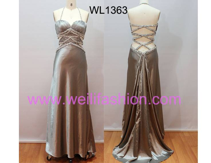 Long Sexy Beading Pleated Satin Evening Dresses
