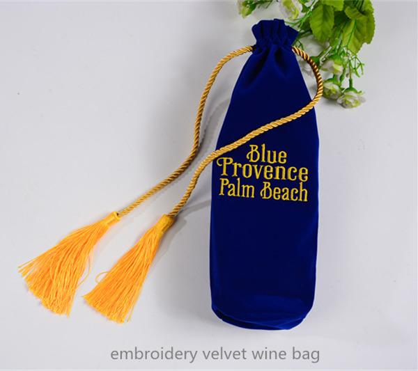 embroidery velvet wine bottle bag
