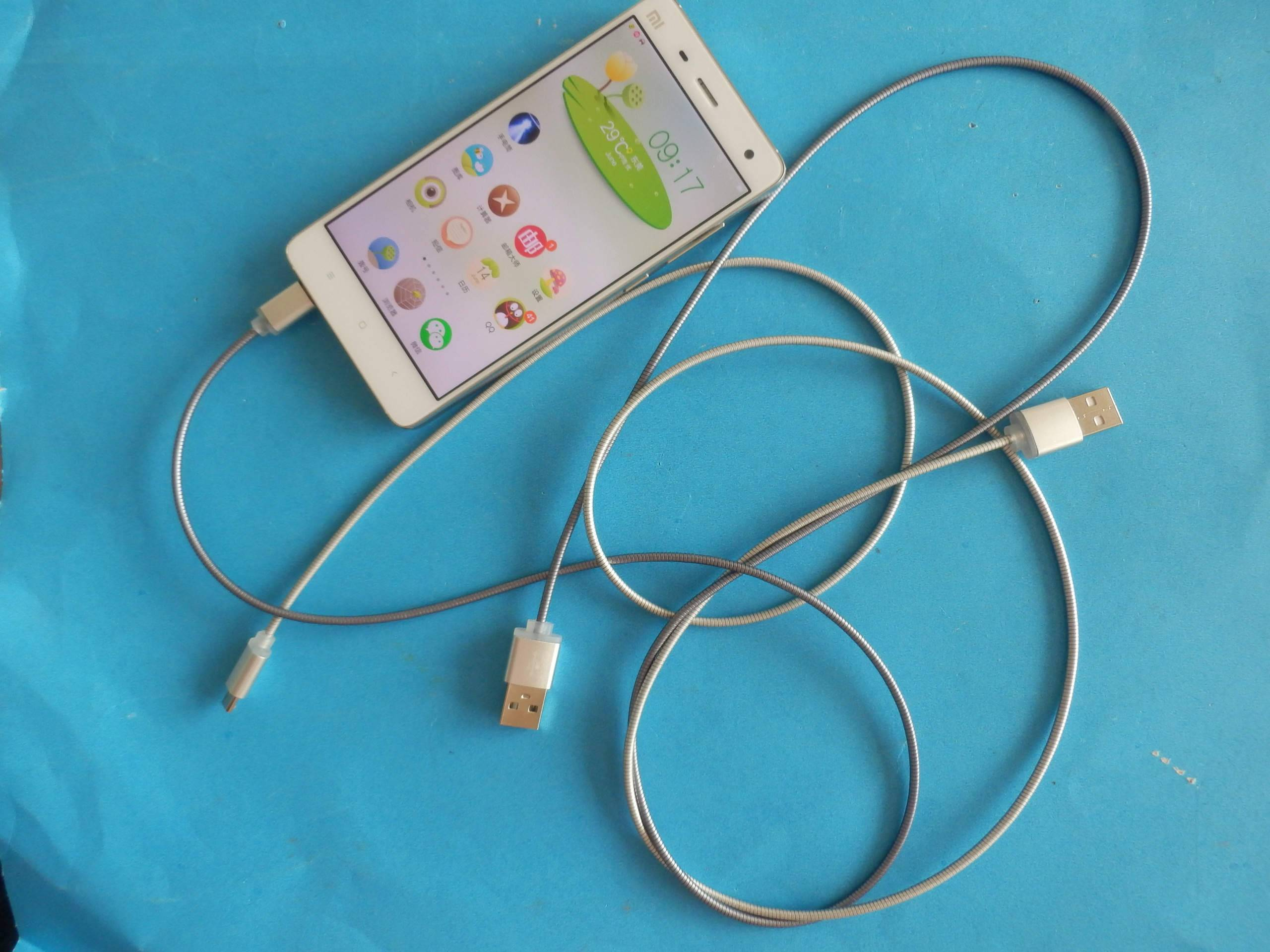 Stainless steel Metal Flexible tube phone usb-micro Data Cable Munufacturer China Supplier