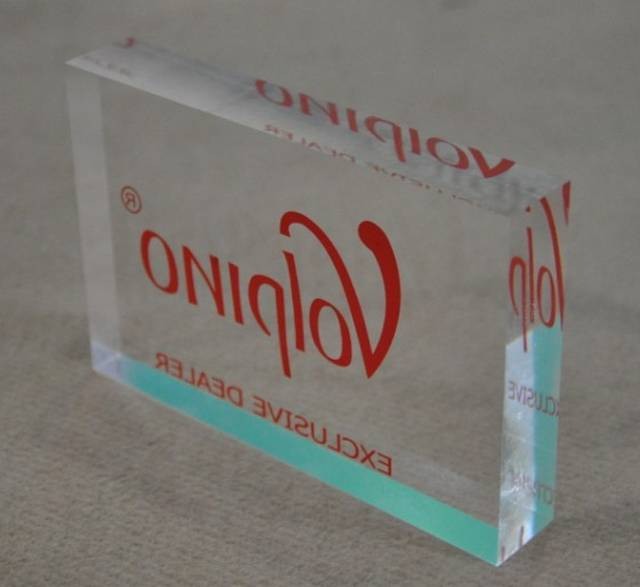 Transparent acrylic display block with silk screen logo