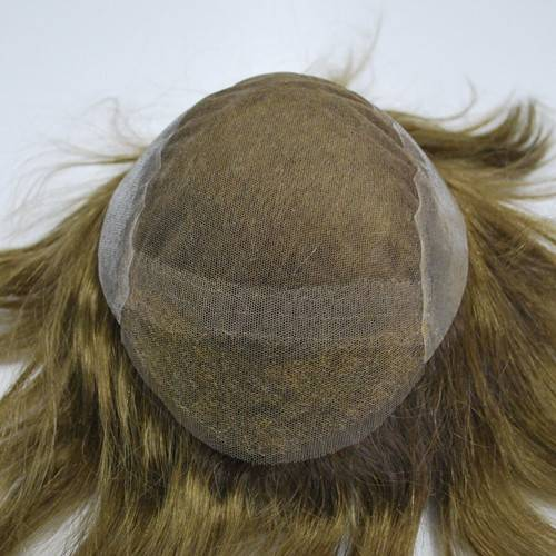 6# Dark brown French lace with PU back&side Bleached knots in front Men's toupee