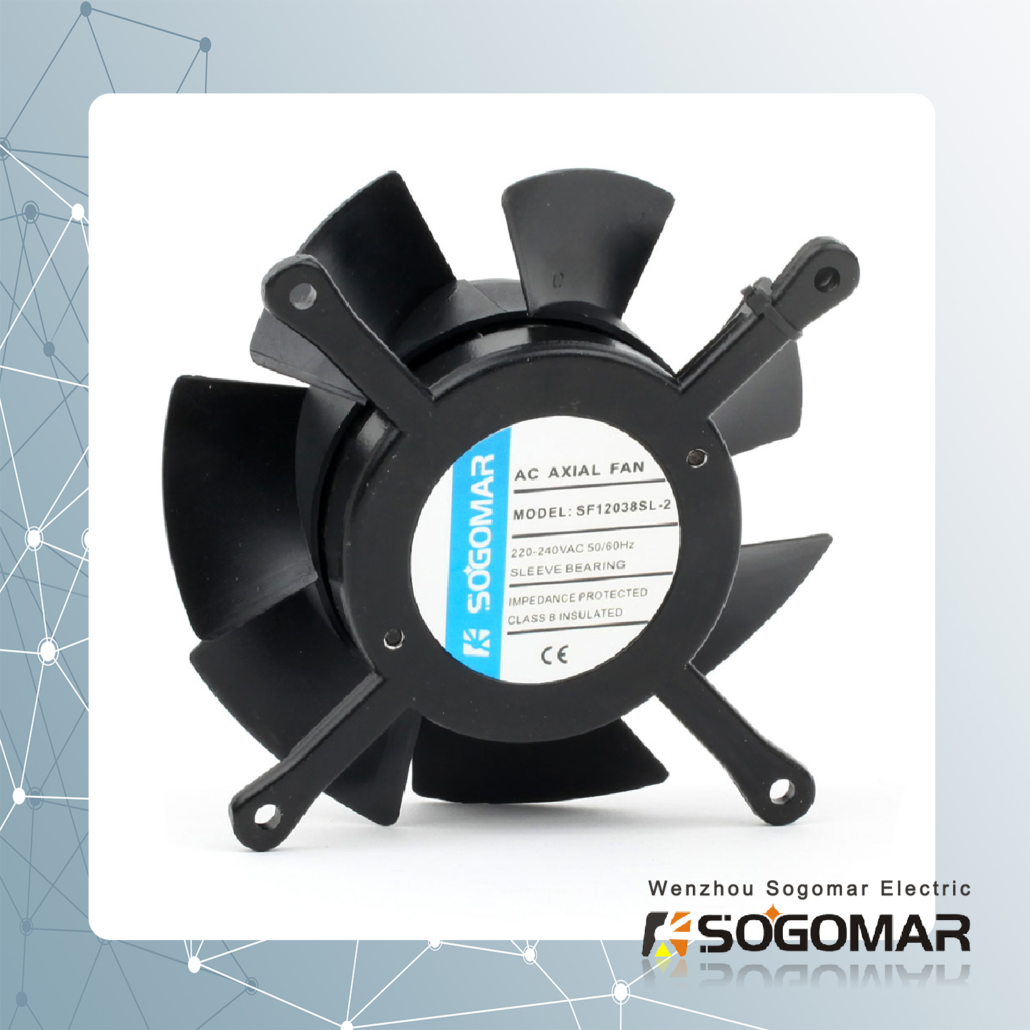 axial fan/ ventilation 100x100x38mm with plastic blades