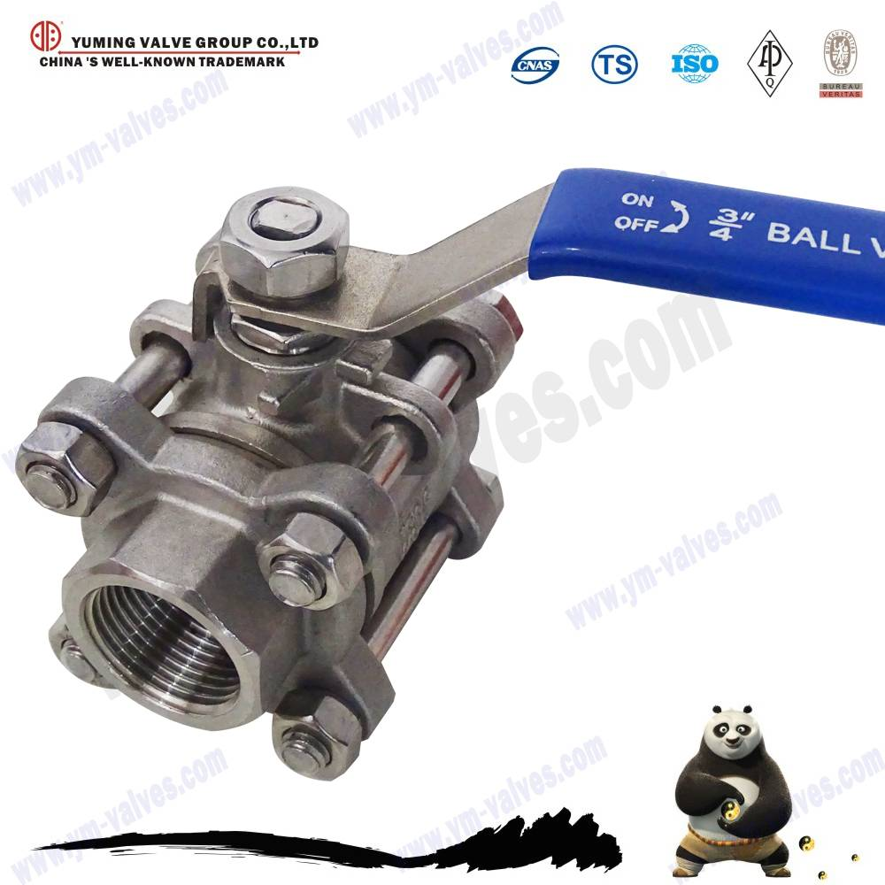3pc stainless steel/CF8M ball valve
