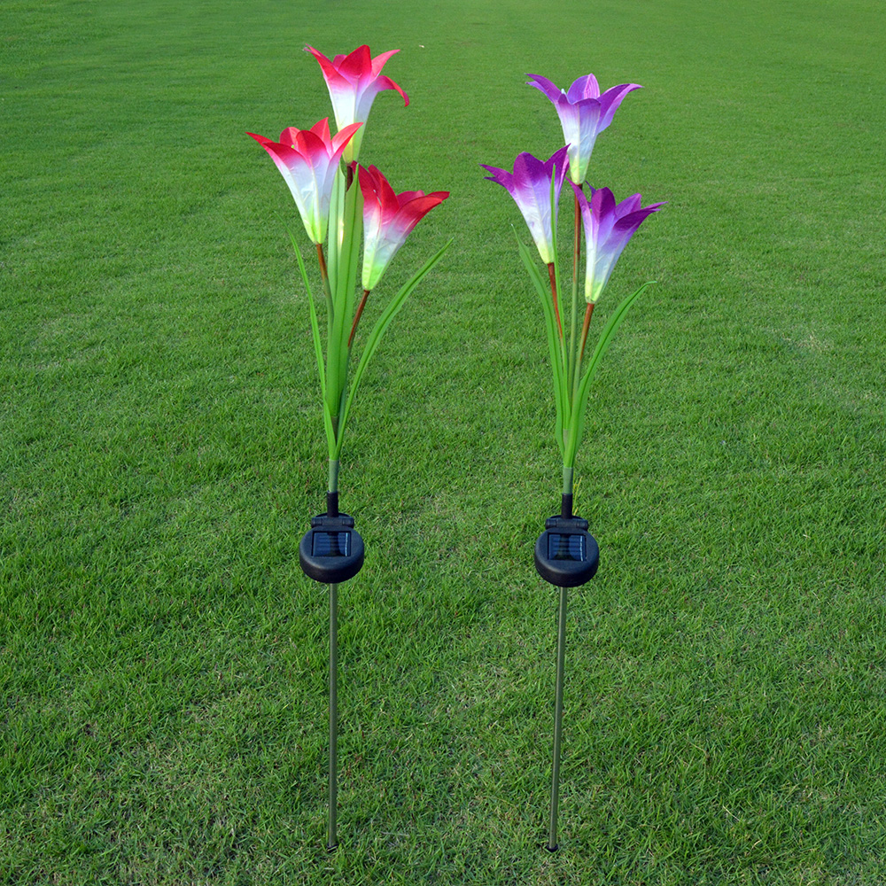 3 branch solar lily light Outdoor solar LED flower light Lawn light