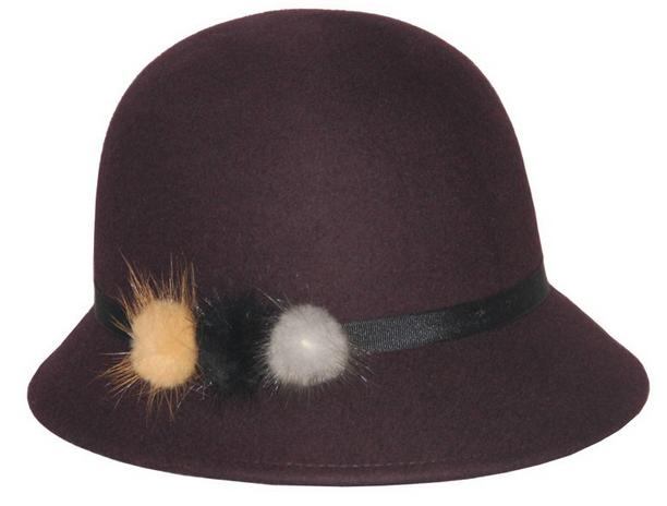 Ladies100% Wool Felt Winter Bowler Bucket Hat With Fur